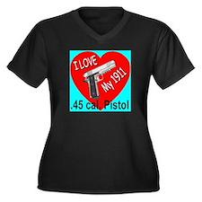 I Love My 1911 .45 cal Pistol Women's Plus Size V-