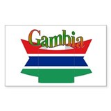 Gambian flag ribbon Rectangle Decal