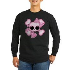 Cute pink skul Long Sleeve T-Shirt