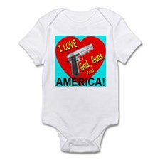 I Love God, Guns and America! Infant Bodysuit