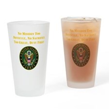 Duty First Army Saying Drinking Glass