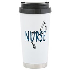 nurse w stethescope 2, blue Travel Mug