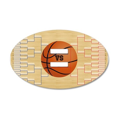 March Basketball Bracket Mad 35x21 Oval Wall Decal
