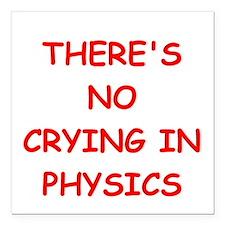 """physics joke Square Car Magnet 3"""" x 3"""""""
