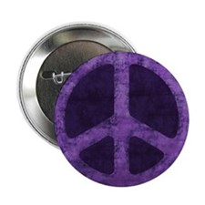 "Distressed Purple Peace Sign 2.25"" Button"