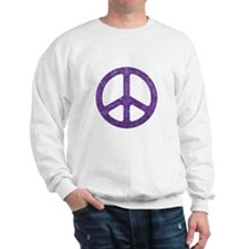 Distressed Purple Peace Sign Sweatshirt
