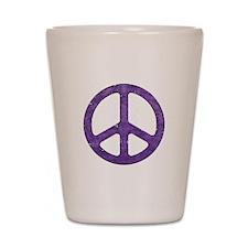 Distressed Purple Peace Sign Shot Glass