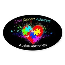 Autism Puzzle on Heart Bumper Stickers