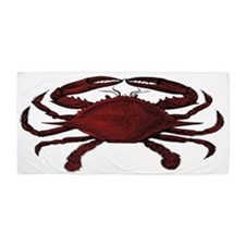 Red Crab Sketch Beach Towel