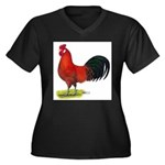buttercup Rooster Women's Plus Size V-Neck Dark T-