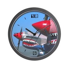 2 P-40s Tiger's Teeth Wall Clock