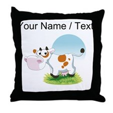 Custom Cartoon Cow Throw Pillow