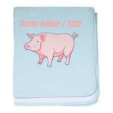 Custom Pink Pig baby blanket