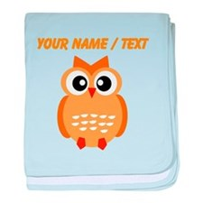 Custom Orange Owl baby blanket