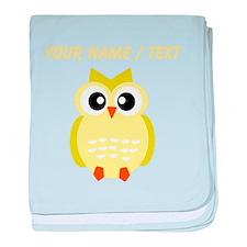 Custom Yellow Owl baby blanket