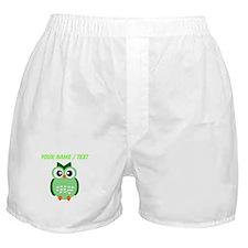 Custom Green Owl Boxer Shorts
