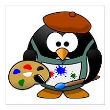 """Penguin-Cartoon 007 Square Car Magnet 3"""" x 3"""""""