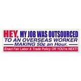 Job Outsourced Bumper Bumper Sticker