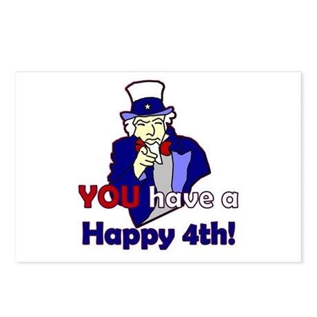 Uncle Sam Happy 4th Postcards (Package of 8)
