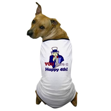 Uncle Sam Happy 4th Dog T-Shirt