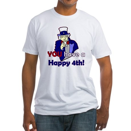 Uncle Sam Happy 4th Fitted T-Shirt