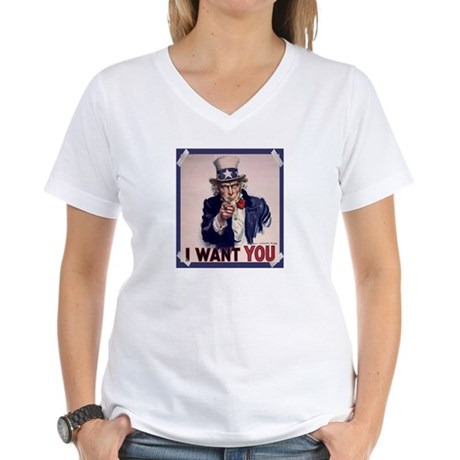 Uncle Sam Poster Women's V-Neck T-Shirt