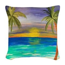Tropical Sunset Woven Throw Pillow
