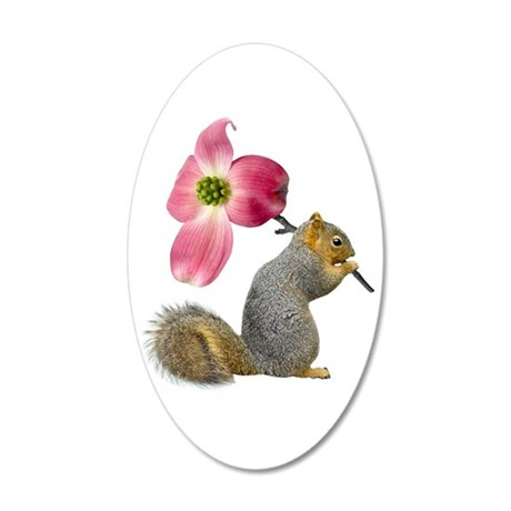 Squirrel Pink Flower 20x12 Oval Wall Decal