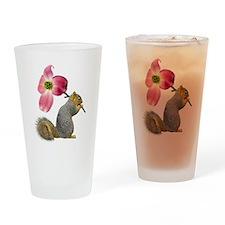 Squirrel Pink Flower Drinking Glass