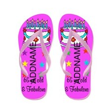 65th Birthday Flip Flops