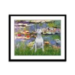 Lilies2-Bull Terrier (P) Framed Panel Print