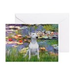 Lilies2-Bull Terrier (P) Greeting Cards (Pk of 10)
