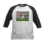 Lilies2-Bull Terrier (P) Kids Baseball Jersey
