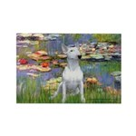 Lilies2-Bull Terrier (P) Rectangle Magnet
