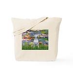 Lilies2-Bull Terrier (P) Tote Bag