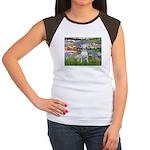 Lilies2-Bull Terrier (P Women's Cap Sleeve T-Shirt