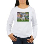 Lilies2/Bull Terrier (1) Women's Long Sleeve T-Shi