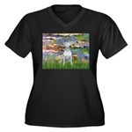 Lilies2/Bull Terrier (1) Women's Plus Size V-Neck