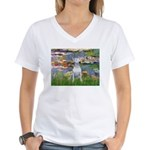 Lilies2-Bull Terrier (P) Women's V-Neck T-Shirt
