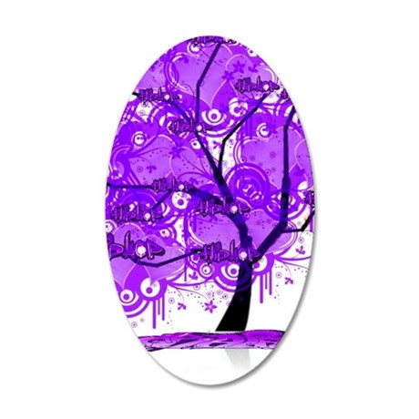 Purple Tree Art 35x21 Oval Wall Decal