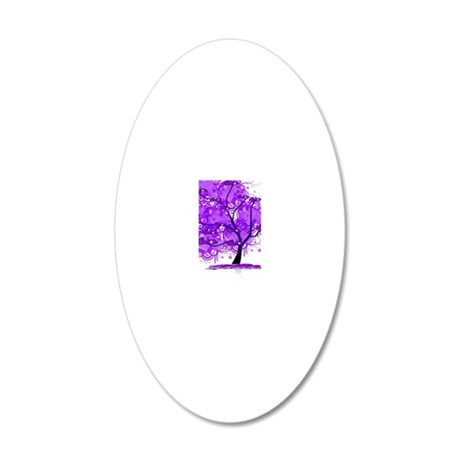 Purple Tree Art 20x12 Oval Wall Decal