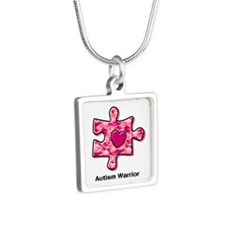 Autism Warrior Silver Square Necklace