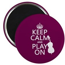 Keep Calm and Play On (double bass) Magnets