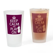 Keep Calm and Play On (double bass) Drinking Glass