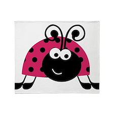 Happy Pink Ladybug Throw Blanket