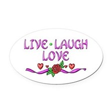 Live Laugh Love Oval Car Magnet