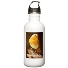 Robin in a Fathers Day Card Water Bottle