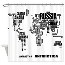 Typography World Map Shower Curtain