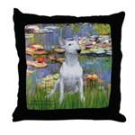 Lilies2-Bull Terrier (P) Throw Pillow