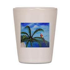 Tropical Parrots Shot Glass